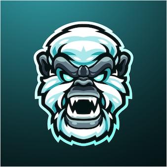 Logo maskotki głowy yeti