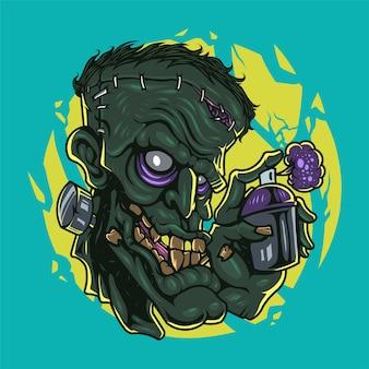 Logo maskotki głowy zombie