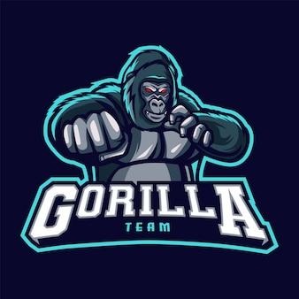 Logo maskotki goryla dla e-sportu i sportu