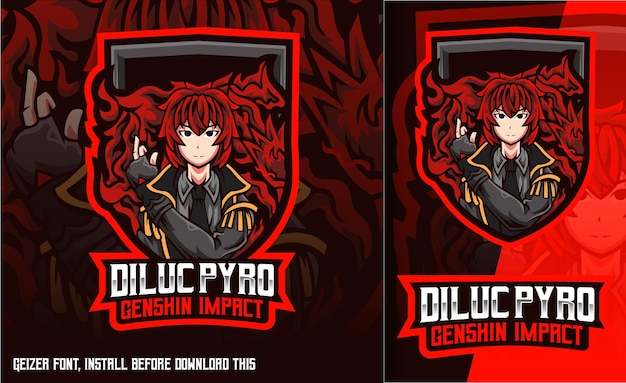 Logo maskotki gracza diluc pyro genshin impact gaming