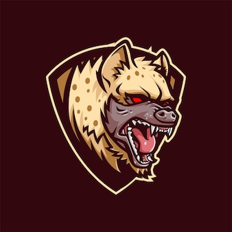 Logo maskotki hieny do e-sportu i sportu