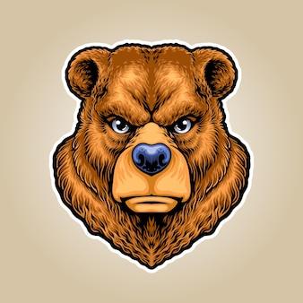 Logo maskotki ilustracja niedźwiedź grizzly