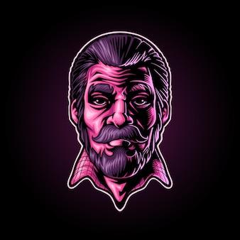 Logo maskotki ilustracji męskiego mężczyzny