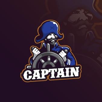 Logo maskotki kapitana w nowoczesnym stylu ilustracji do nadruku znaczka, godła i koszulki.