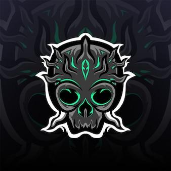 Logo maskotki kolczastej czarnej czaszki