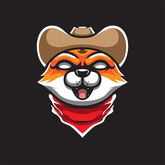 Logo maskotki kowboja kota