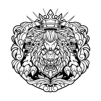Logo maskotki króla lwa w stylu vintage