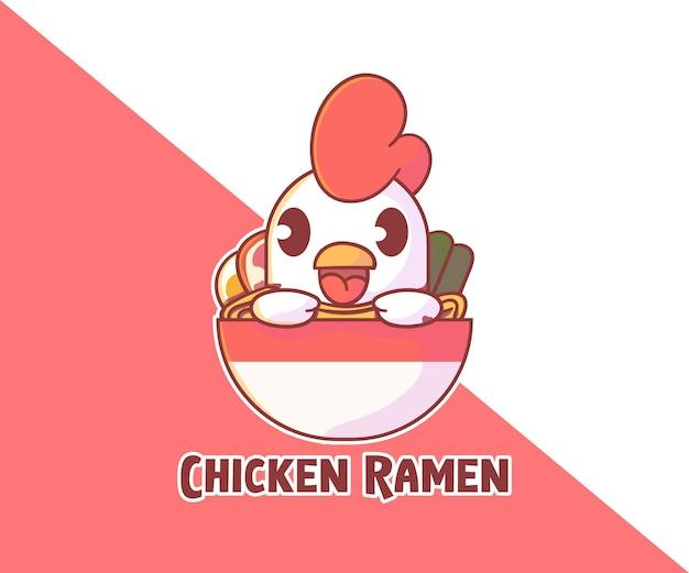 Logo maskotki ładny kurczak ramen.