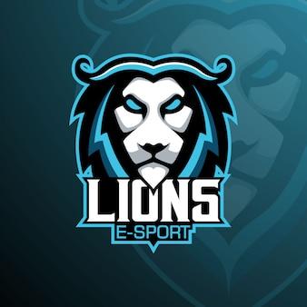 Logo maskotki lion e-sport