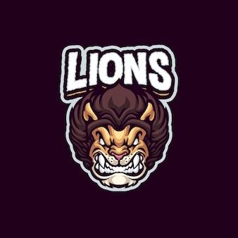 Logo maskotki lwa dla drużyny esportowej i sportowej