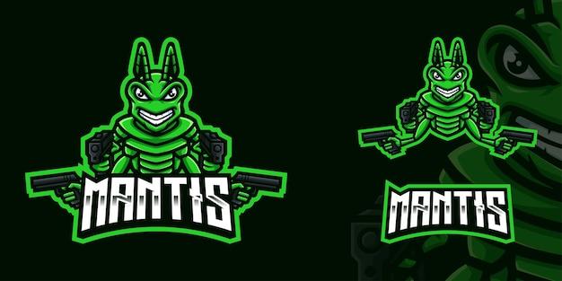 Logo maskotki mantis holding gun gaming dla streamera i społeczności e-sportowej