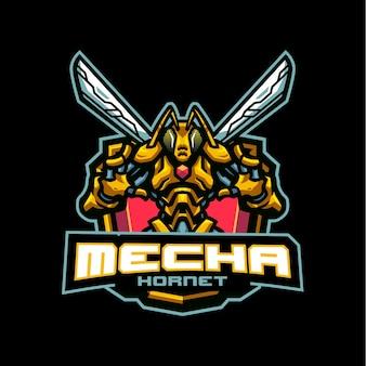 Logo maskotki mecha hornet dla e-sportu i zespołu sportowego