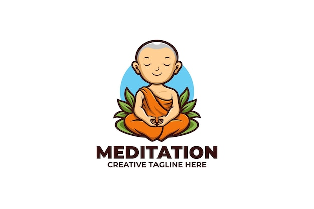 Logo maskotki medytacji słodkiego mnicha