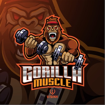 Logo maskotki mięśni goryla