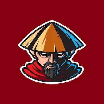Logo maskotki mistrz ninja kungfu