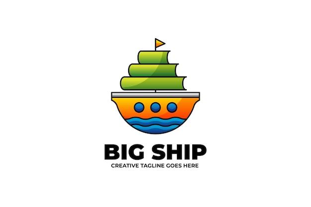 Logo maskotki morskiej big ship w stylu akwareli