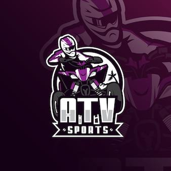 Logo maskotki motocross atv z nowoczesnym stylem ilustracji do nadruku znaczka, godła i koszulki.