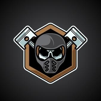 Logo maskotki motocyklisty czaszki głowy