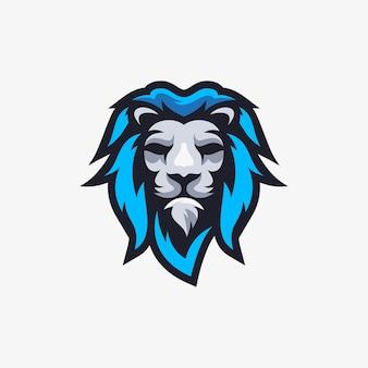 Logo maskotki niebieski lew