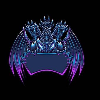 Logo maskotki niebieskiego smoka do esportu