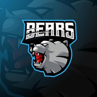 Logo maskotki niedźwiedzia dla e-sportu, gier lub zespołu