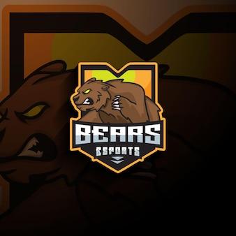 Logo maskotki niedźwiedzia esport