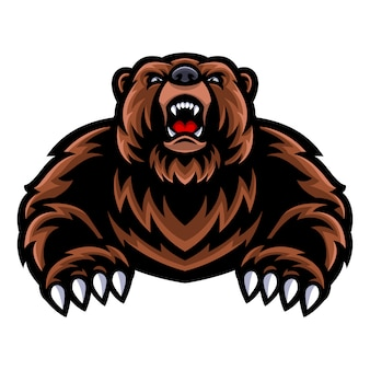 Logo maskotki niedźwiedzia grizzly