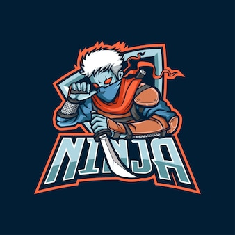 Logo maskotki ninja dla e-sportu i sportu