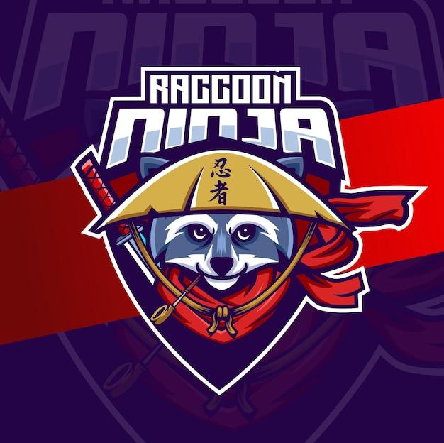 Logo maskotki ninja szop pracz