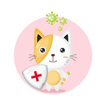 Logo Maskotki Ochrony Przed Wirusami Kota Premium Wektorów