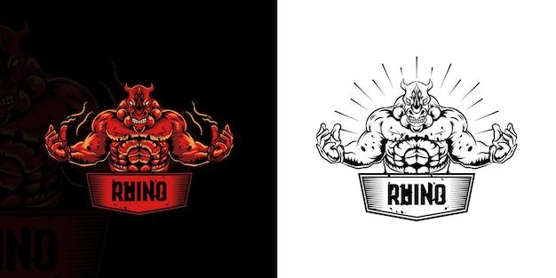 Logo maskotki ognia rhino