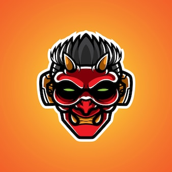 Logo maskotki oni cyborg head