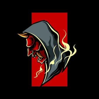 Logo maskotki oni mask urban style