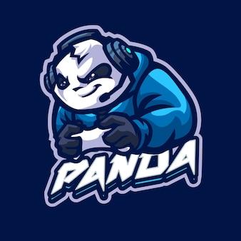 Logo maskotki panda dla drużyny esportowej i sportowej