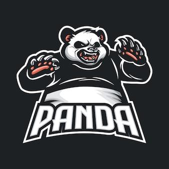 Logo maskotki panda dla e-sportu i sportu
