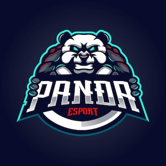 Logo maskotki panda do esportu
