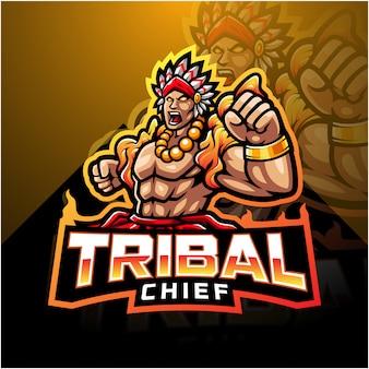 Logo maskotki plemiennego szefa e-sportu