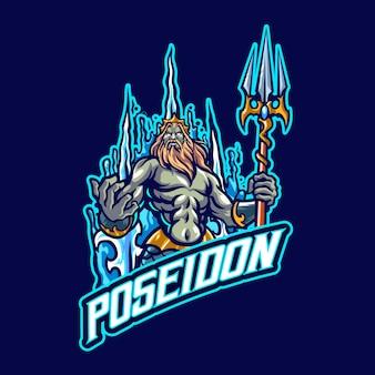 Logo maskotki poseidon dla e-sportu i zespołu sportowego
