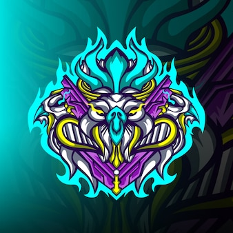 Logo Maskotki Potwora Orła Premium Wektorów