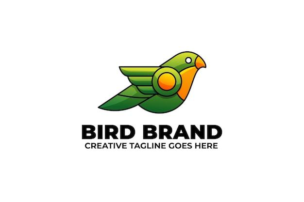 Logo maskotki ptaka w stylu akwareli