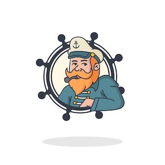 Logo maskotki retro stary marynarz