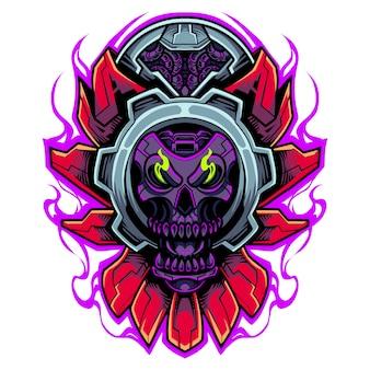 Logo maskotki robota głowa czaszki