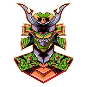 Logo maskotki robota zielony samuraj