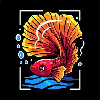 Logo maskotki ryb betta
