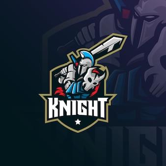 Logo maskotki rycerza w nowoczesnym stylu ilustracji do nadruku znaczka, godła i koszulki.