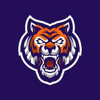 Logo maskotki ryczącego tygrysa