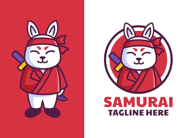 Logo maskotki samuraja japońskiego królika