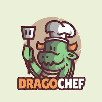 Logo maskotki smoka szefa kuchni