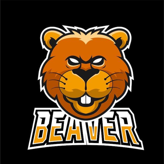 Logo maskotki sportów bobrów i e-sportów