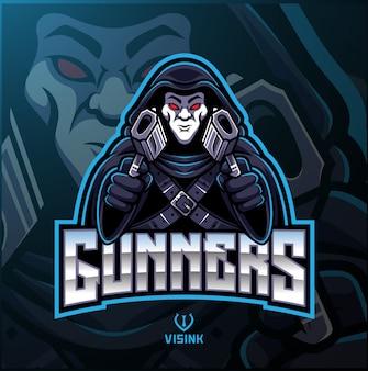 Logo maskotki sportowca strzeleckiego